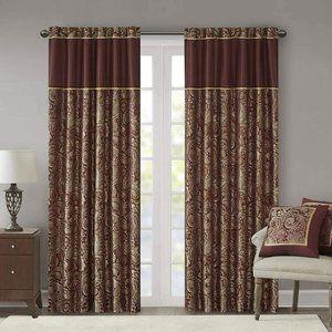 2 Curtain Panels Aubrey Faux Silk Paisley Jacquard